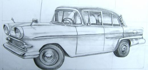 car drawing with grid
