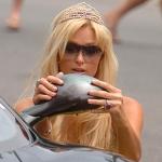 Paris Hilton getting out of car