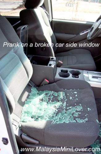 car pranks with broken window