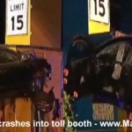 <b>Car crashes into toll booth</b>