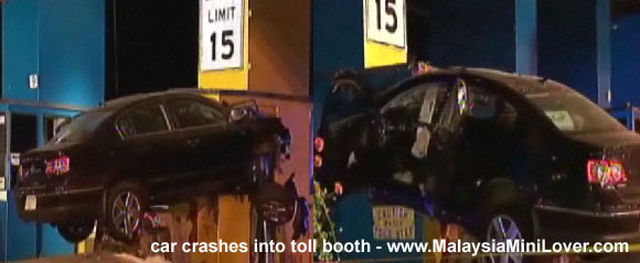 Car crashes into toll booth