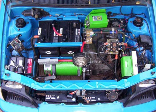 electric car engine bay