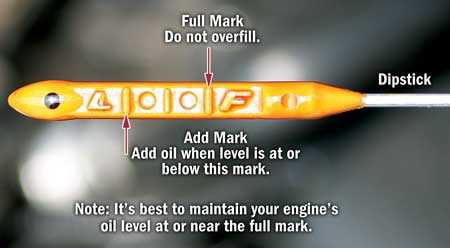 oil level reading dipstick