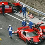 <b>Most expensive exotic car crash made up by eight Ferraris, a Lamborghini, and three Mercedes</b>