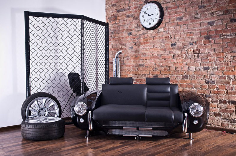 nice sofa with automotive theme