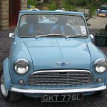 <b>Light Blue, Two-Seater Classic Mini Roadster</b>